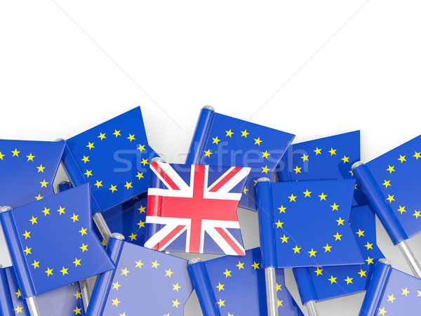 Flag pins of UK and EU isolated on white Stock photo © MikhailMishchenko