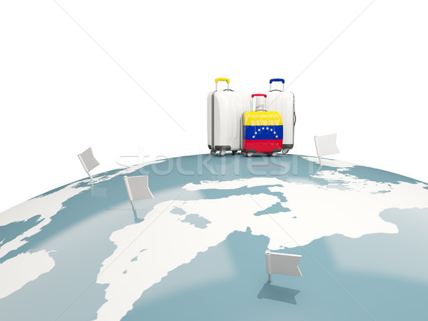 Csomagok zászló három szatyrok felső földgömb Stock fotó © MikhailMishchenko