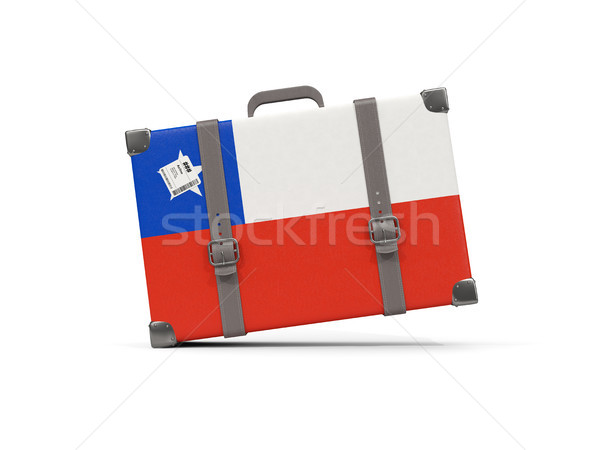 Luggage with flag of chile. Suitcase isolated on white Stock photo © MikhailMishchenko