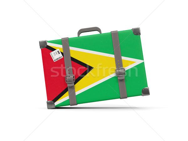Csomagok zászló Guyana bőrönd izolált fehér Stock fotó © MikhailMishchenko
