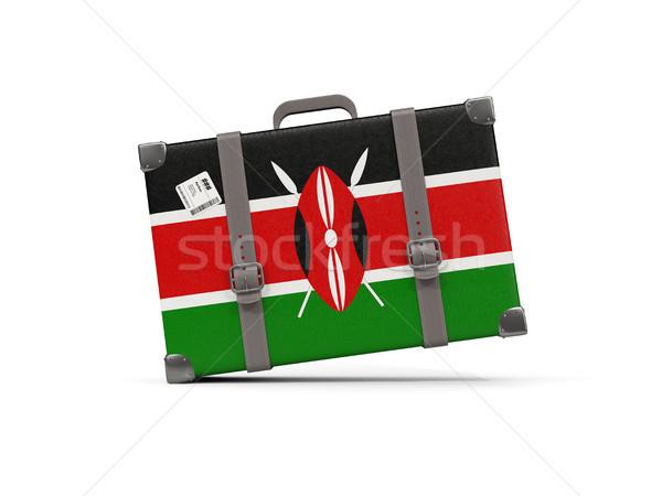 Luggage with flag of kenya. Suitcase isolated on white Stock photo © MikhailMishchenko