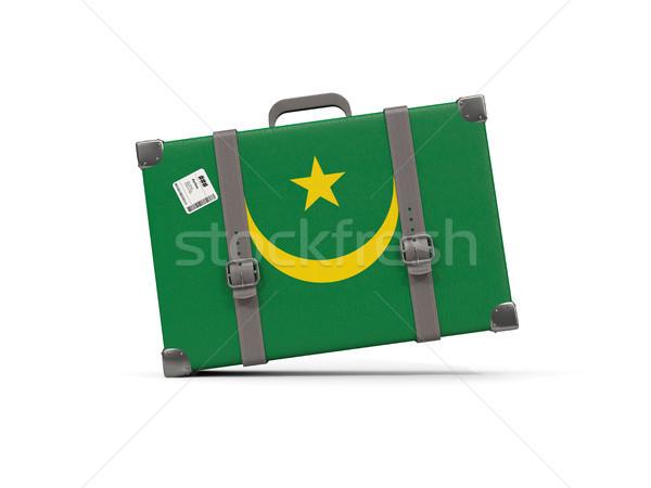 Luggage with flag of mauritania. Suitcase isolated on white Stock photo © MikhailMishchenko