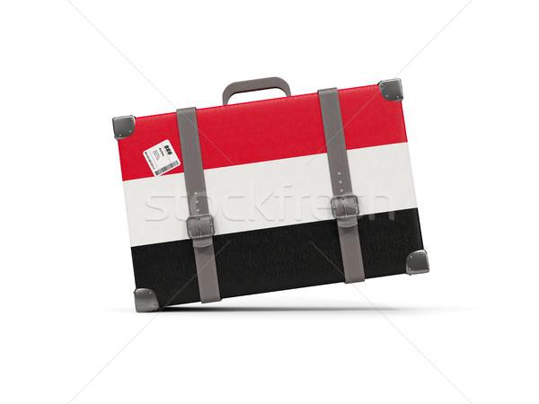Luggage with flag of yemen. Suitcase isolated on white Stock photo © MikhailMishchenko
