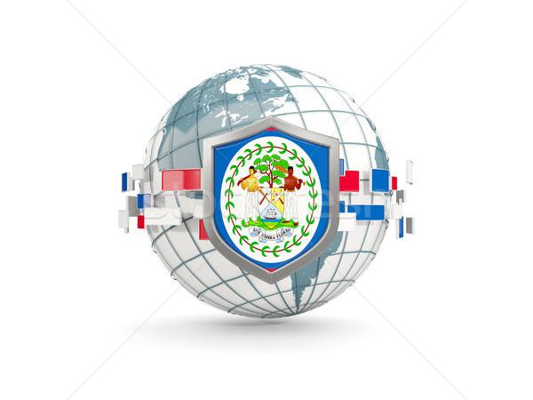 Földgömb pajzs zászló Belize izolált fehér Stock fotó © MikhailMishchenko