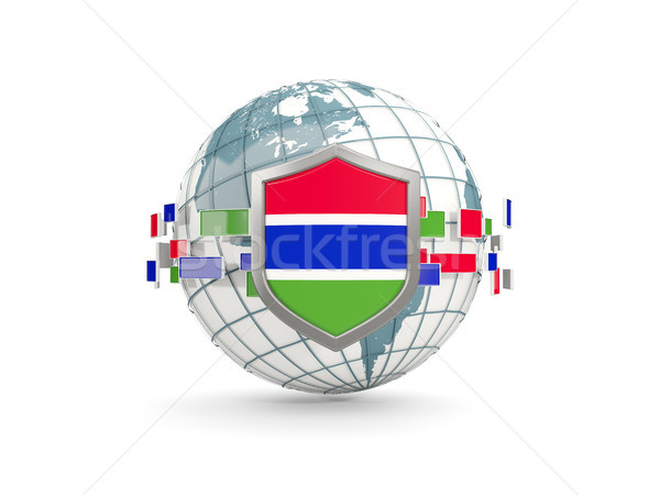 Globe and shield with flag of gambia isolated on white Stock photo © MikhailMishchenko