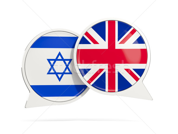 Chat bubbles of Israel and UK isolated on white Stock photo © MikhailMishchenko