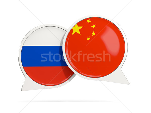 Chat bubbles of Russia and China isolated on white Stock photo © MikhailMishchenko