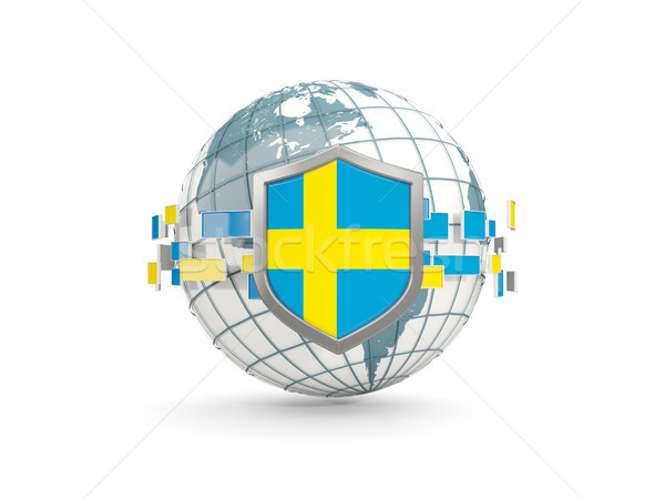 Globo escudo bandeira Suécia isolado branco Foto stock © MikhailMishchenko