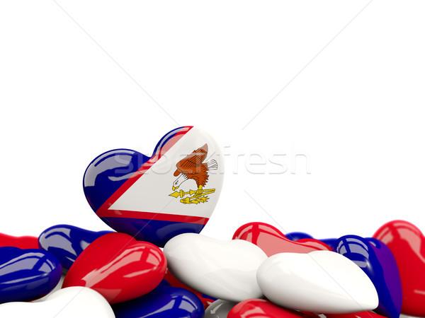 Coração bandeira Samoa Americana topo corações isolado Foto stock © MikhailMishchenko