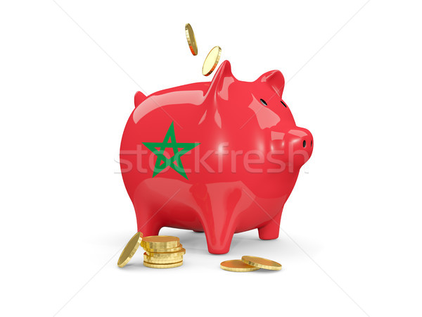 Fat piggy bank with fag of morocco Stock photo © MikhailMishchenko