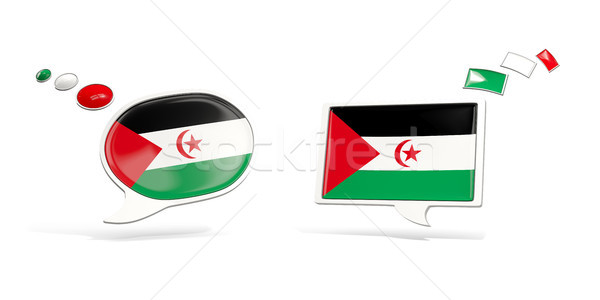 Two chat icons with flag of western sahara Stock photo © MikhailMishchenko