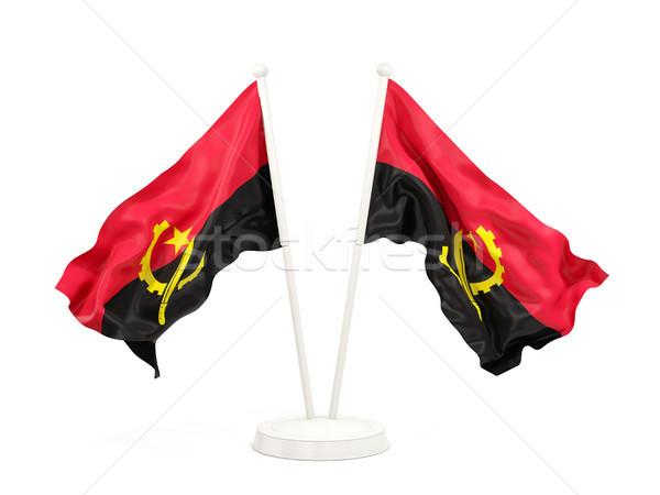 два флагами Ангола изолированный белый Сток-фото © MikhailMishchenko
