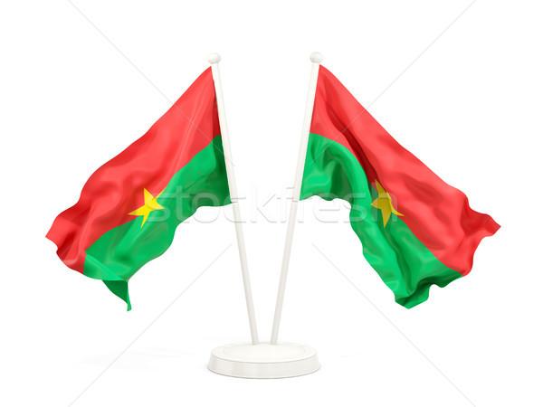 Two waving flags of burkina faso Stock photo © MikhailMishchenko