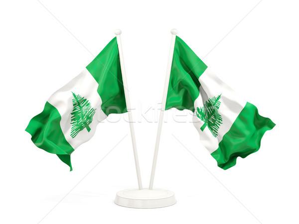 Two waving flags of norfolk island Stock photo © MikhailMishchenko