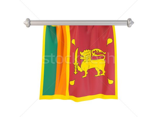 Banderą Sri Lanka odizolowany biały 3d ilustracji etykiety Zdjęcia stock © MikhailMishchenko