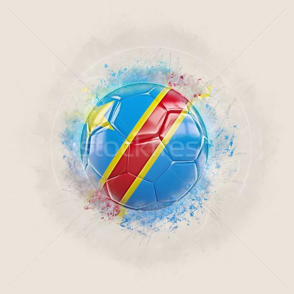 Grunge futball zászló demokratikus köztársaság Kongó Stock fotó © MikhailMishchenko