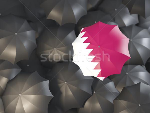 Umbrella with flag of qatar Stock photo © MikhailMishchenko