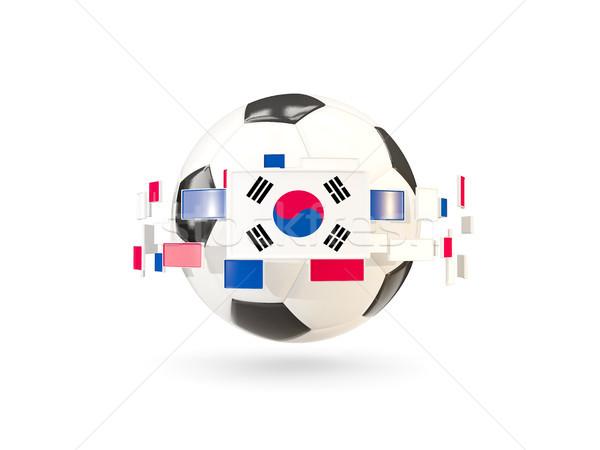футбольным мячом линия флагами флаг Южная Корея Сток-фото © MikhailMishchenko