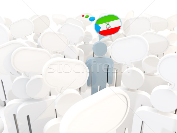 Man with flag of equatorial guinea in a crowd Stock photo © MikhailMishchenko