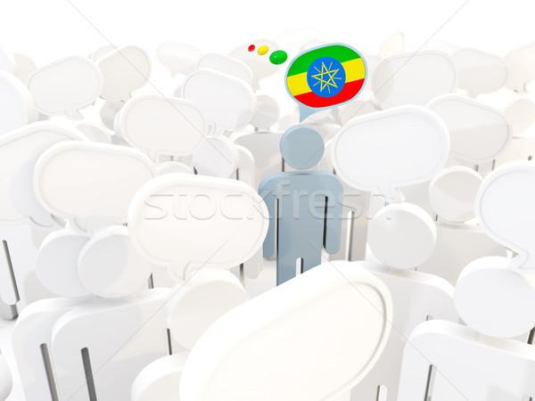 Człowiek banderą Etiopia tłum 3d ilustracji podpisania Zdjęcia stock © MikhailMishchenko