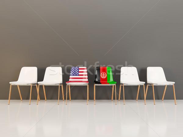 стульев флаг США Афганистан 3d иллюстрации Сток-фото © MikhailMishchenko