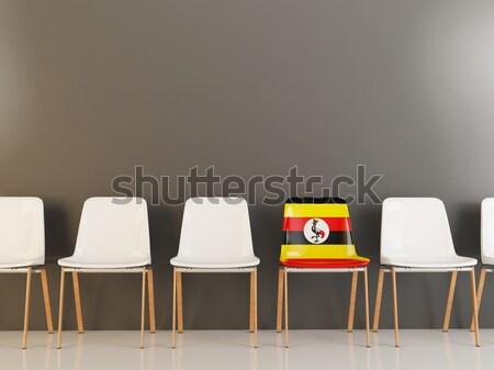 Stoel vlag Malawi rij witte stoelen Stockfoto © MikhailMishchenko