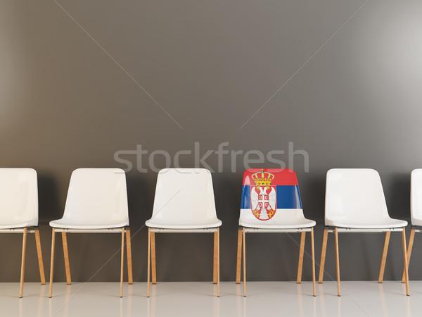 Silla bandera Serbia blanco sillas Foto stock © MikhailMishchenko