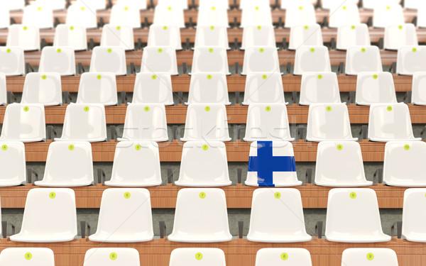 Stadion zitting vlag Finland rij witte Stockfoto © MikhailMishchenko
