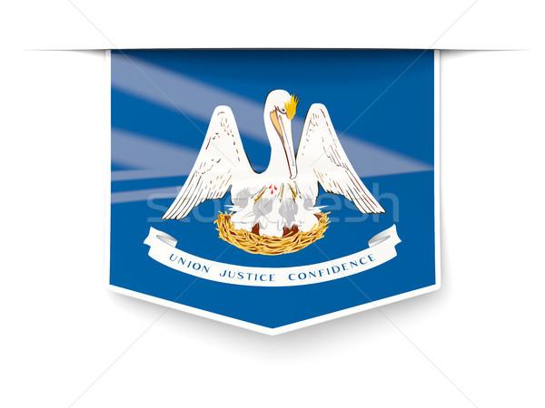 Луизиана флаг квадратный Label тень Соединенные Штаты Сток-фото © MikhailMishchenko