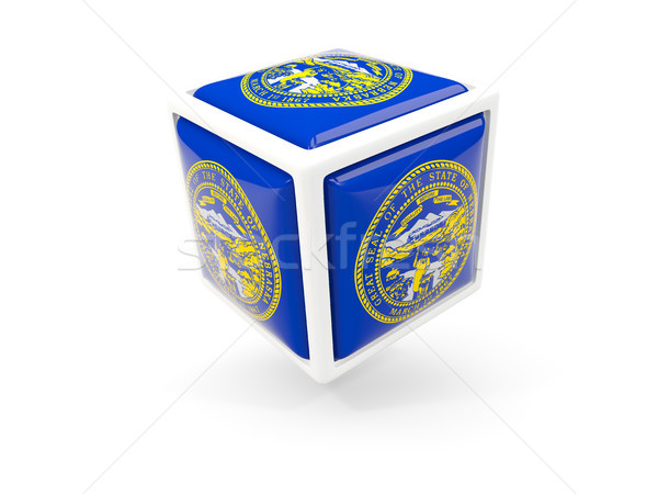 Nebraska vlag kubus icon Verenigde Staten lokaal Stockfoto © MikhailMishchenko