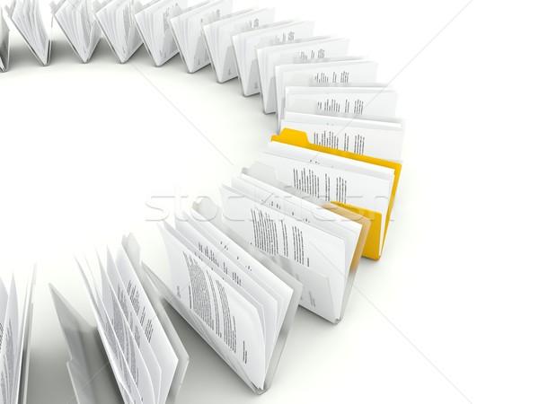 Zdjęcia stock: Rząd · plików · odizolowany · biały · działalności
