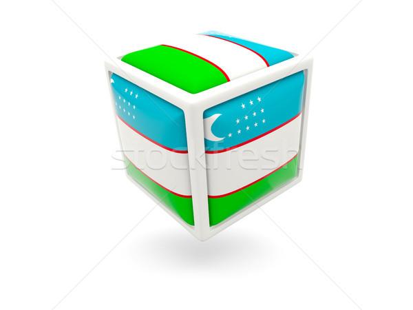 Bayrak Özbekistan küp ikon yalıtılmış beyaz Stok fotoğraf © MikhailMishchenko