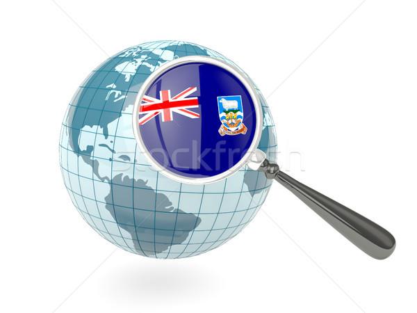 Nagyított zászló Falkland-szigetek kék földgömb izolált Stock fotó © MikhailMishchenko