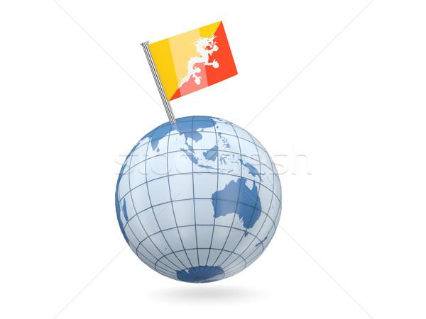 Wereldbol vlag Bhutan Blauw geïsoleerd witte Stockfoto © MikhailMishchenko