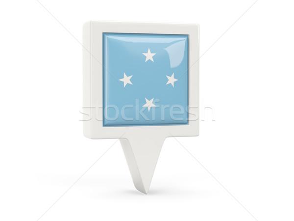 Praça bandeira ícone Micronésia isolado branco Foto stock © MikhailMishchenko