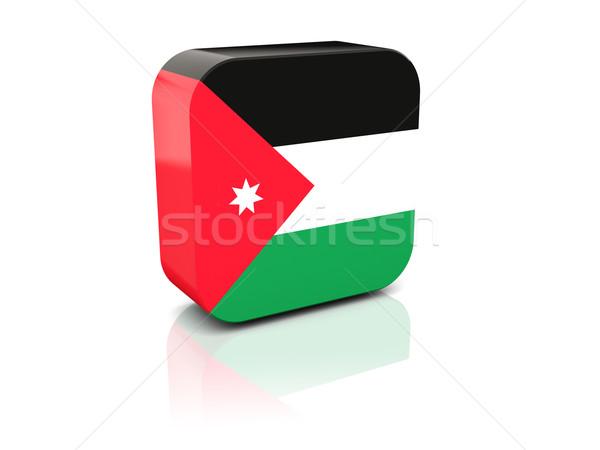 Placu ikona banderą Jordania refleksji biały Zdjęcia stock © MikhailMishchenko