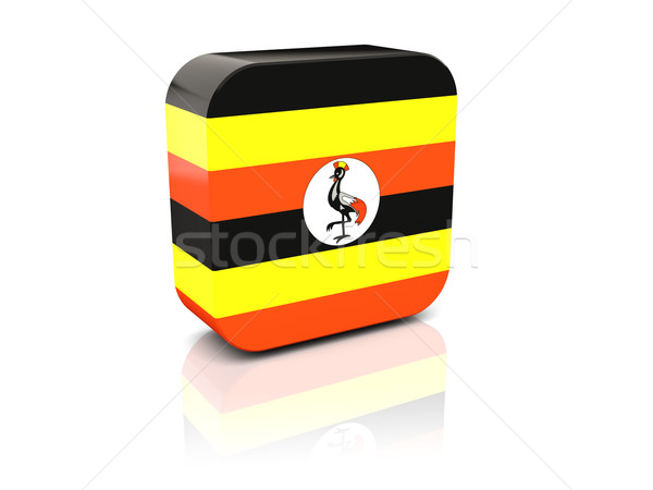 Piazza icona bandiera Uganda riflessione bianco Foto d'archivio © MikhailMishchenko