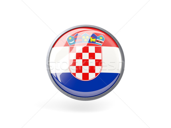 Icona bandiera Croazia metal frame viaggio Foto d'archivio © MikhailMishchenko