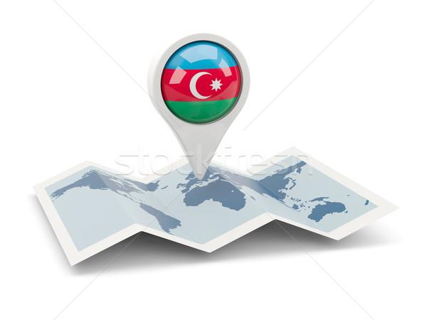 Tő zászló Azerbajdzsán térkép utazás fehér Stock fotó © MikhailMishchenko