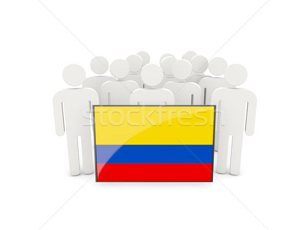 Insanlar bayrak Kolombiya yalıtılmış beyaz kalabalık Stok fotoğraf © MikhailMishchenko