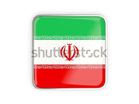 Tér fém gomb zászló Irán izolált Stock fotó © MikhailMishchenko