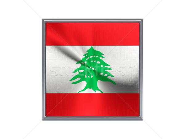 квадратный металл кнопки флаг Ливан изолированный Сток-фото © MikhailMishchenko