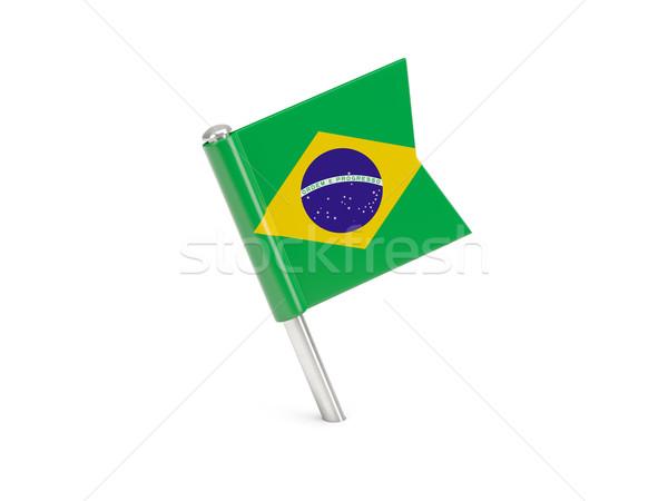 Banderą pin Brazylia odizolowany biały podróży Zdjęcia stock © MikhailMishchenko