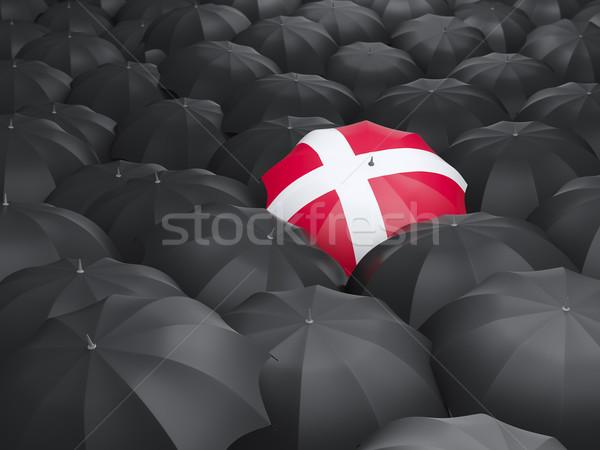 Paraguas bandera Dinamarca negro paraguas lluvia Foto stock © MikhailMishchenko