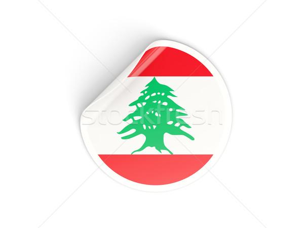 Matrica zászló Libanon izolált fehér utazás Stock fotó © MikhailMishchenko
