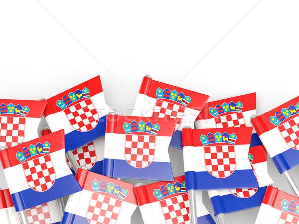 Bandeira pin Croácia isolado branco fundo Foto stock © MikhailMishchenko
