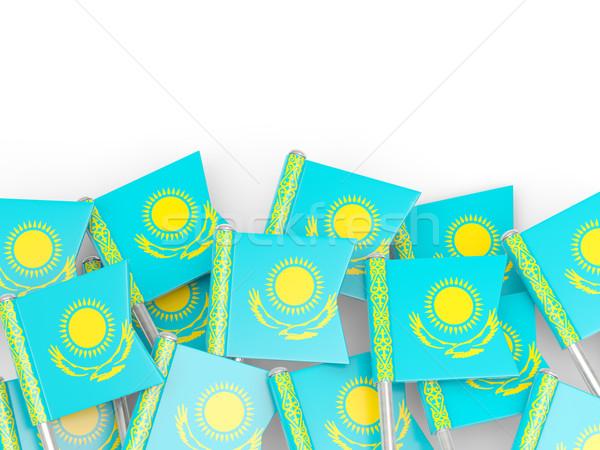 Zászló tő Kazahsztán izolált fehér háttér Stock fotó © MikhailMishchenko