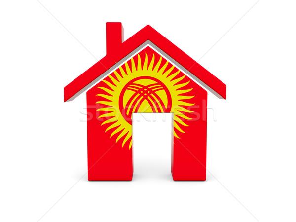 Ev bayrak Kırgızistan yalıtılmış beyaz arama Stok fotoğraf © MikhailMishchenko