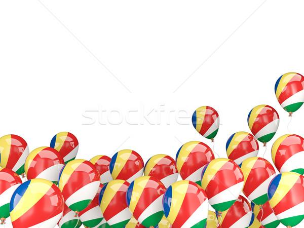 Uçan balonlar bayrak Seyşeller yalıtılmış beyaz Stok fotoğraf © MikhailMishchenko