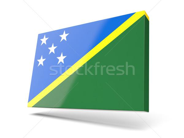 Piazza icona bandiera Isole Salomone isolato bianco Foto d'archivio © MikhailMishchenko
